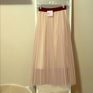 Blush pleated tool skirt, never worn with tags